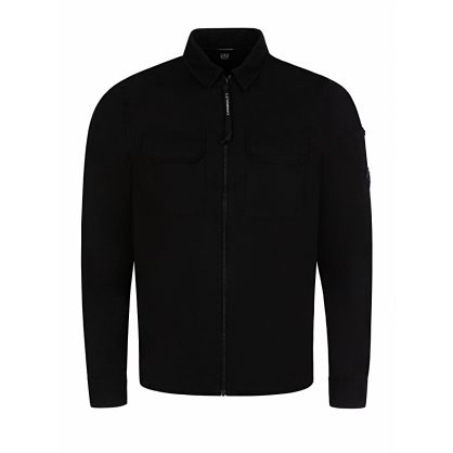 Black Long Sleeve Gabardine Overshirt