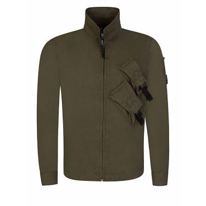 Green Pocket Detail Zip-Through Overshirt