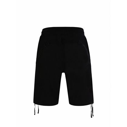 Black Diagonal Raised Fleece Shorts