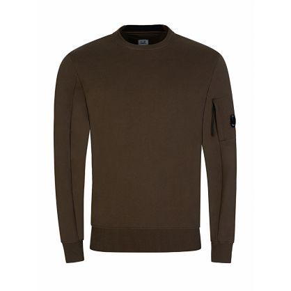 Green Diagonal Raised Sleeve Zip Sweatshirt