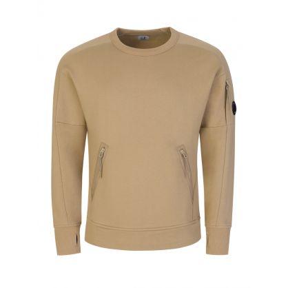 Beige Diagonal Raised Fleece Pocket Sweatshirt