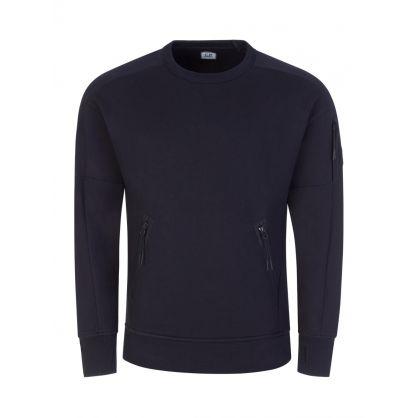 Navy Diagonal Raised Fleece Pocket Sweatshirt