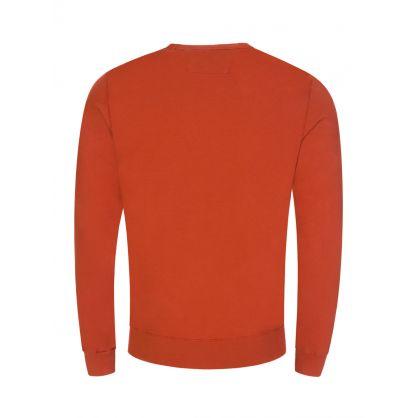 Orange Fleece Garment-Dyed Label Sweatshirt
