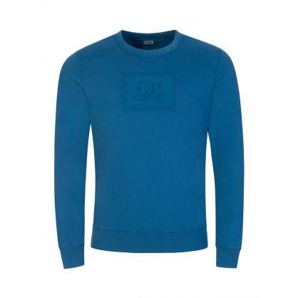 Blue Fleece Garment-Dyed Label Sweatshirt