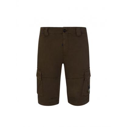 Green Satin Stretch Cargo Shorts