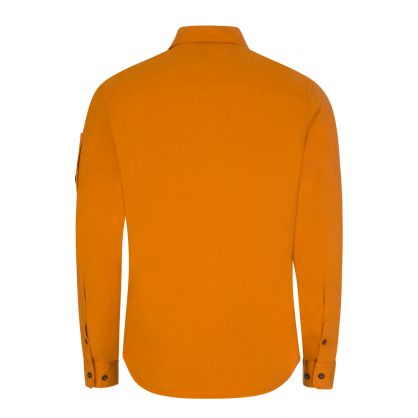 Orange Gabardine Zipped Lens Overshirt