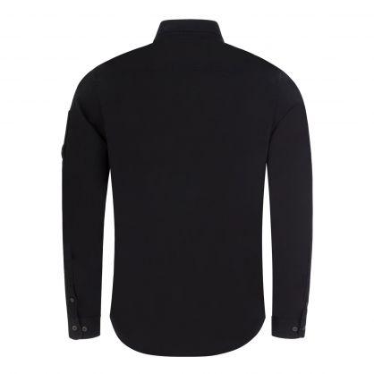 Black Gabardine Garment Dyed Lens Utility Shirt
