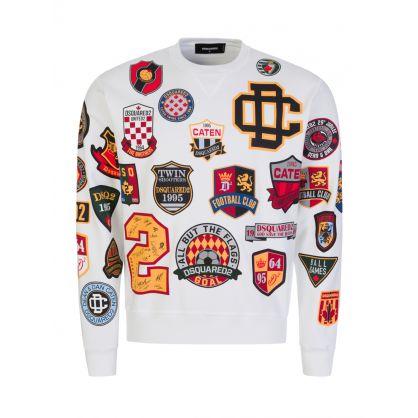 White Multi Logo Crest Sweatshirt