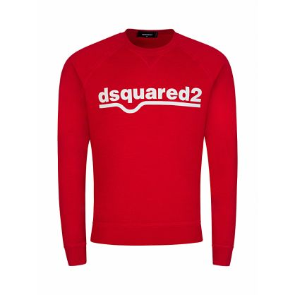 Red Logo Print Sweatshirt