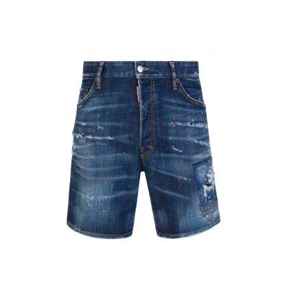 Blue Paint Splatter Shorts