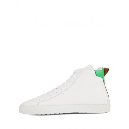 White/Green San Diego High-Top Trainers