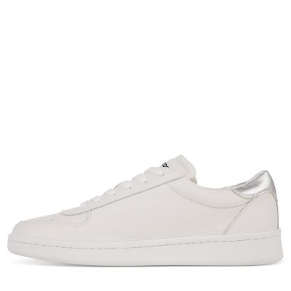 White Tumbled Leather Boxer Trainers