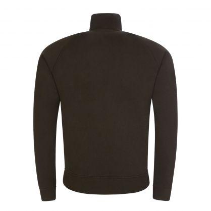 Dark Green Stripe-Line Zip-Through Sweatshirt
