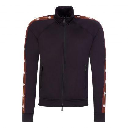 Black Leaf Tape Zip-Through Jacket