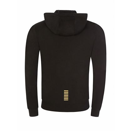 Black Zip-Through Gold Logo Hoodie