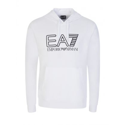 White Embroidered Logo Print Hoodie