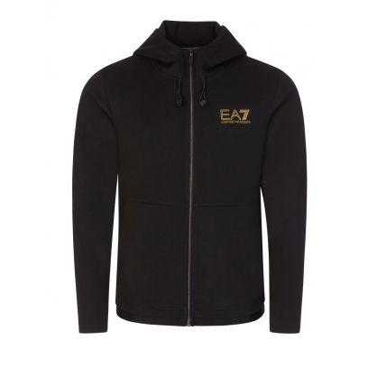 Emporio EA7 Black Logo Hooded Zip-Through