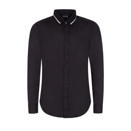 Black Jacquard Logo Collar Shirt