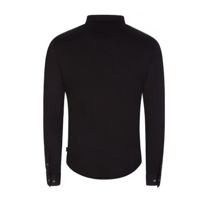 Black Jersey Button Shirt