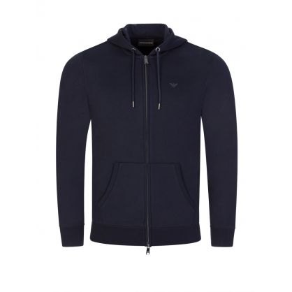 Navy Eagle Logo Zip-Through Hoodie