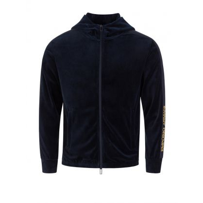 Navy Velour Zip-Through Jacket