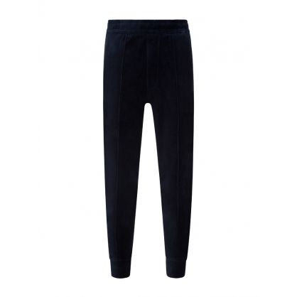 Navy Velour Embroidered Sweatpants