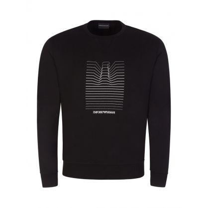 Black Embroidered Repeat Logo Sweatshirt