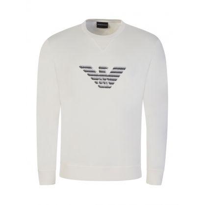 White Dashed Eagle Print Sweatshirt