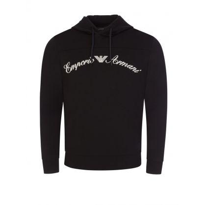 Black Embroidered Logo Hoodie