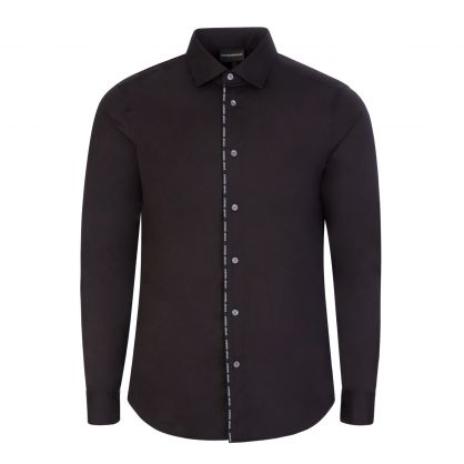 Black Stretch Cotton Logo Shirt
