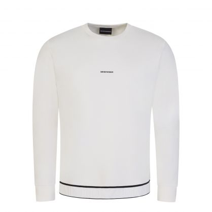 White Double-Jersey Jacquard Logo Waistband Sweatshirt