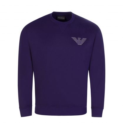 Purple Modal-Blend 3D-Look Eagle Embroidery Sweatshirt
