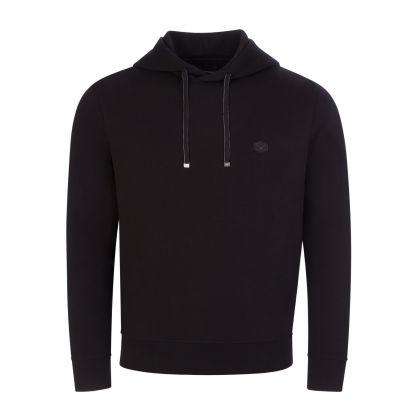 Black Stretch Cotton Popover Sweatshirt