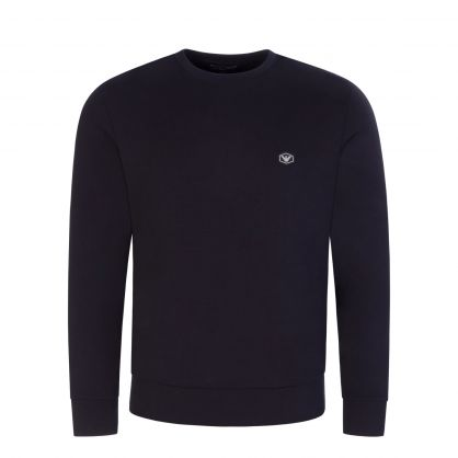 Navy Double-Jersey Logo Patch Sweatshirt
