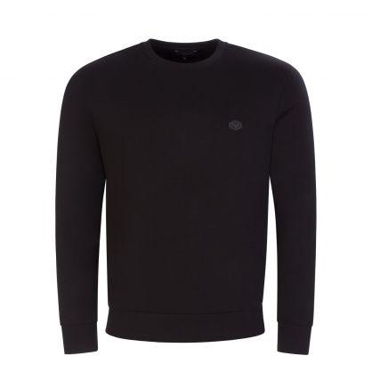 Black Double-Jersey Logo Patch Sweatshirt