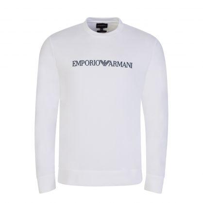 White Oversized Eagle Print Sweatshirt