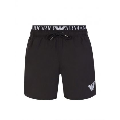 Black Logo Waistband Swim Shorts