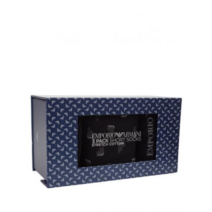 Black Stretch Cotton Short Socks 3-Pack