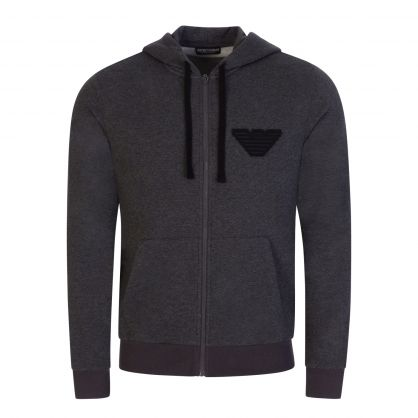 Grey Melange Hooded Zip-Through