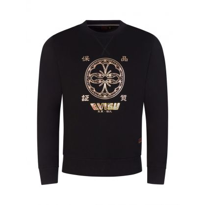 Black Kamon Foil-Print/Scroll Daicock Appliqué Sweatshirt
