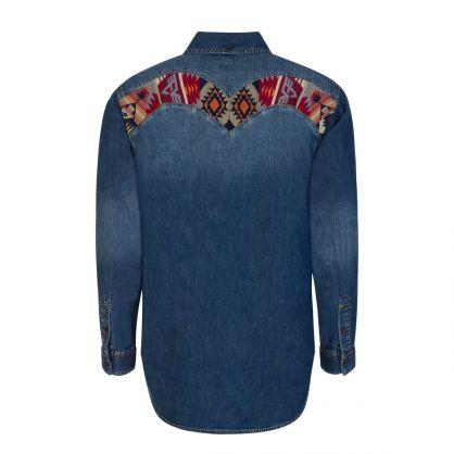 Blue Folklore Pattern Daicock Insert Denim Shirt