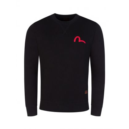 Black Seagull Print Sweatshirt