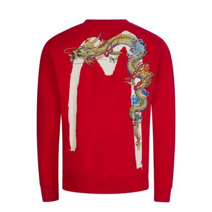 Red Ukiyo-e Dragon Daicock Print Sweatshirt