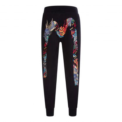 Black Dragon-Embroidered Daicock Print Sweatpants