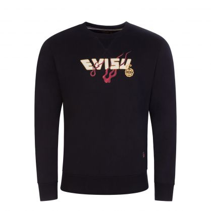 Black Dragon-Embroidered Daicock Print Sweatshirt