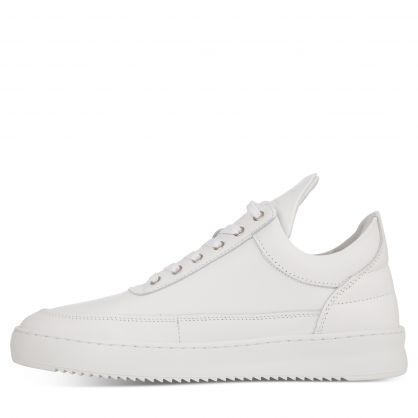 White Low-Top Ripple Nappa Trainers