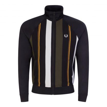 Black Knitted Stripe Track Jacket