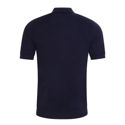 Navy Tipped Knitted Polo Shirt