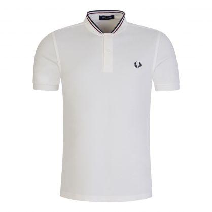 White Bomber Collar Polo Shirt