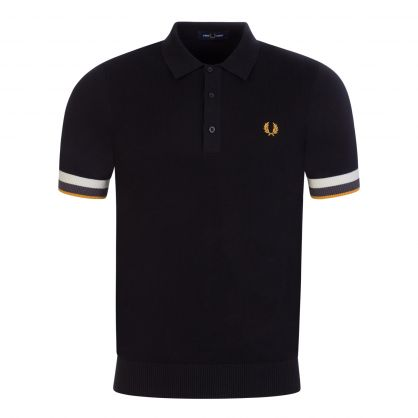 Black Striped Cuff Knitted Polo Shirt